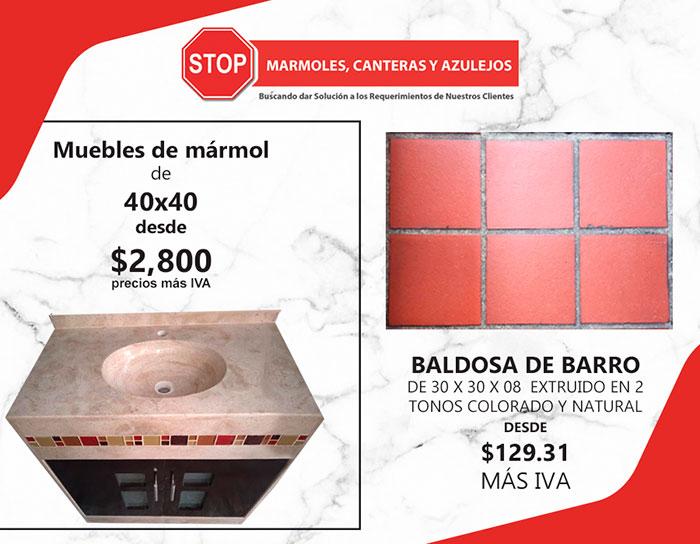 Stop, mármoles canteras y azulejos, Excelentes promociones en muebles para baño y baldosas